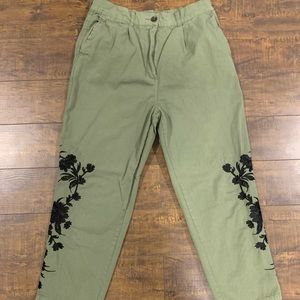 Zara Woman Olive Green High Waisted Pants